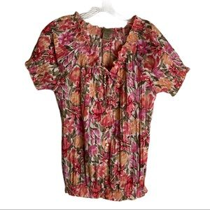 ART AND SOUL Spring Summer Floral Button Down Top